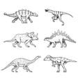 dinosaurs set triceratops brontosaurus broad vector image vector image