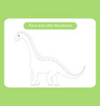 diplodocus dinosaur trace and color picture vector image vector image