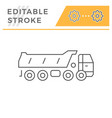dump truck line icon vector image vector image