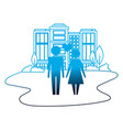 family couple with heart in cityscape isolated vector image vector image
