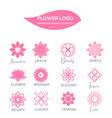 feminine pink flower logo collection vector image