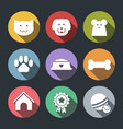 flat pet icon set - dog cat mouse vector image vector image