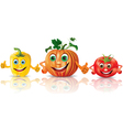 Funny vegetables paprika pumpkin tomato vector image vector image