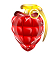Hand grenade in a heart shape vector image