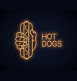 hand hold hotdog neon banner holding hot dog vector image