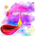 Happy Diwali background coloful with watercolor vector image vector image