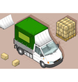 Isometric White Van with Tarpaulin vector image vector image