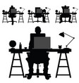 man silhouette work on laptop vector image vector image
