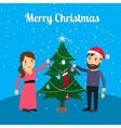 Merry Christmas card with happy couple vector image vector image