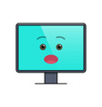 open-eyed face on computer screen emoticon vector image