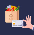 payment a plastic card for a package vector image vector image