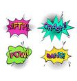 pow sound and wtf comic bubble speech crash wtf vector image vector image