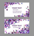 Purple riangle mosaic business card template vector image vector image