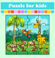 puzzle game for kids animals in meadow vector image vector image