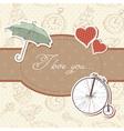 Romantic vintage Valentine invitation postcard vector image vector image