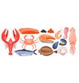 seafood menu isolated set cartoon raw marine vector image
