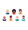 set avatars happy people different races vector image vector image