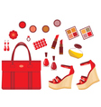 Set of red accessories vector image vector image