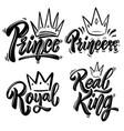 set royal lettering prince princess king vector image vector image