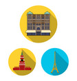 sights of different countries flat icons in set vector image