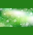 st patricks day green clover blurred bokeh web vector image