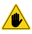 stop sign hand on yellow vector image vector image