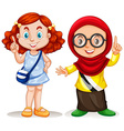 Two girls pointing finger up vector image
