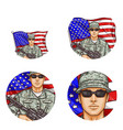 us flag soldier pop art avatar icons vector image vector image