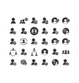 users solid icon set vector image vector image