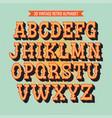 vintage 3d alphabet retro typeface font vector image vector image