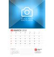 wall calendar planner for 2018 year march print vector image vector image