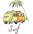 watercolor surfing car vector image vector image