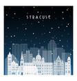 winter night in syracuse night city in flat style vector image vector image