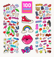 woman fashion stickers collection with accessories vector image
