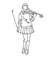 woman playing violin sketch doodle vector image vector image