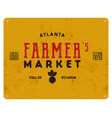 farmer s market typography poster retro organic vector image
