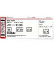 airline boarding pass tickets to plane for travel vector image