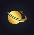 plane world travel gold logo vector image