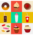 Sweet Food Fast Food Cake Donut Candies Icons Set vector image