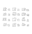 Sketch icons collection for sewing machine vector image