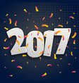 2017 3d lettering with conffetti celebration vector image vector image