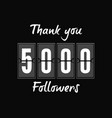 5000 followers greeting card for social networks vector image