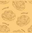 almond croissant hand draw seamless pattern vector image