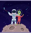 astronaut and alien selfie friendship between vector image vector image