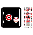 bank safe icon with 90 bonus pictograms vector image
