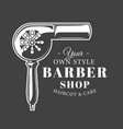 barbershop label isolated on black background vector image vector image