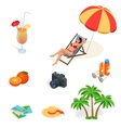 Beach icon set Girl in a swimsuit on a deck chair vector image vector image