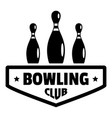 bowling club logo simple style vector image