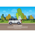 broken car on road background with copy space vector image vector image