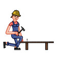 builder clogs a nail vector image vector image